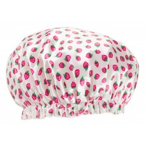 Poly&EVA Waterproof Multifunctional Double layer Shower Cap, Pink Strawberry