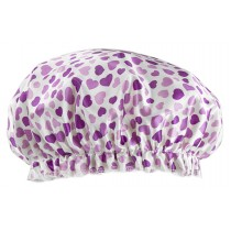 Poly&EVA Waterproof Multifunctional Double layer Shower Cap, Purple Heart