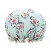 Poly&EVA Waterproof Multifunctional Double layer Shower Cap, Blue Flower