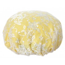 Poly Waterproof Multifunctional Lace Double layer Shower Cap, Yellow C