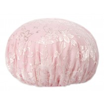 Poly Waterproof Multifunctional Lace Double layer Shower Cap, Pink A