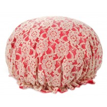 Poly Waterproof Multifunctional Lace Double layer Shower Cap, Red B