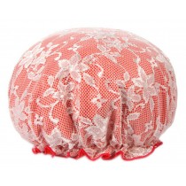 Poly Waterproof Multifunctional Lace Double layer Shower Cap, Red C