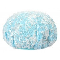Poly Waterproof Multifunctional Lace Double layer Shower Cap, Blue A