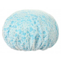 Poly Waterproof Multifunctional Lace Double layer Shower Cap, Blue B