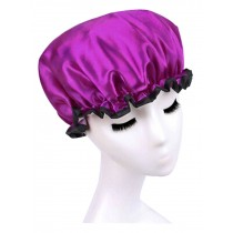 Double Layer Adult Waterproof Bath Shower Cap Bathing Cap Purple