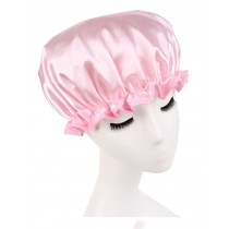 Double Layer Adult Waterproof Bath Shower Cap Bathing Cap Pink A
