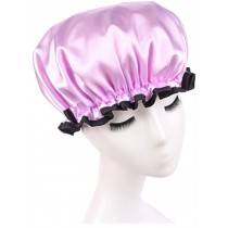 Double Layer Adult Waterproof Bath Shower Cap Bathing Cap Red Purple