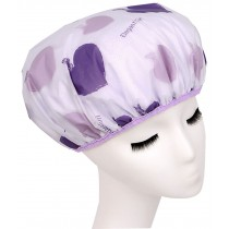 Japanese Syyle Double Layer Adult Waterproof Bath Shower Cap Bathing Cap Purple