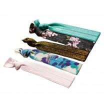Set of 3 Stylish Elastics Ponytail Holder Knotted Hair Ties Scrunchie Flowers