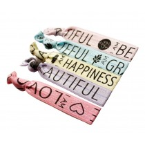 Set of 3 Fashion Elastics Ponytail Holder Knotted Hair Ties Words