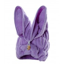 Bath Towel Hair Dry Hat Cap Hair Drying Towel Lady Bath Tool Rabbit Purple