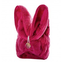Bath Towel Hair Dry Hat Cap Hair Drying Towel Lady Bath Tool Rabbit Rose Red
