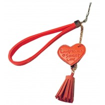 Phone strape Love Tassel PU Leather Camera Hand Rope Orange