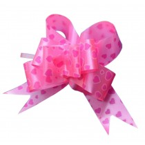 [Pink] 60PCS Heart Pattern Party Decoration Pull String Bows/ Ribbons