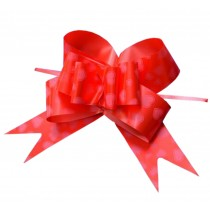 Heart Pattern Party Decoration [Red] Pull String Bows/ Ribbons, 60PCS