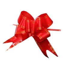 60PCS, Floral Decoration Pull String Ribbons, [Red] Pull Flower Ribbons