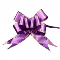 60PCS Pull Flower Ribbons, Floral Decoration Purple Pull String Ribbons