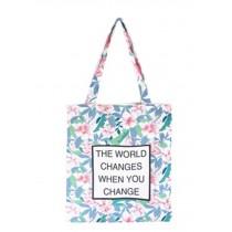 Shoulder Bag Women's Print Canvas Bag Tote  Beach Shopper Bag Retro Flowers