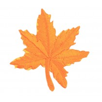 12PCS Embroidered Fabric Patches Sticker Iron Sew On Applique [Leaf Orange]