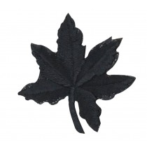 12PCS Embroidered Fabric Patches Sticker Iron Sew On Applique [Leaf Black]