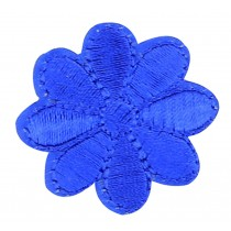 12PCS Embroidered Fabric Patches Sticker Iron Sew On Applique [Flower Blue B]