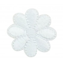 12PCS Embroidered Fabric Patches Sticker Iron Sew On Applique [Flower White]