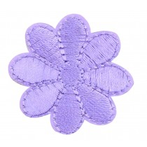 12PCS Embroidered Fabric Patches Sticker Iron Sew On Applique [Flower Purple A]