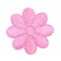 12PCS Embroidered Fabric Patches Sticker Iron Sew On Applique [Flower Pink]
