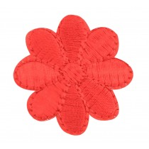 12PCS Embroidered Fabric Patches Sticker Iron Sew On Applique [Flower Red]