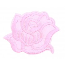 9PCS Embroidered Fabric Patches Sticker Iron Sew On Applique [Rose Pink]