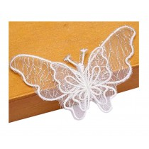Set Of 2 Elegant Lace Embroidery Fabric Dticker Decorative Decals Butterfly