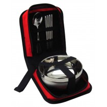 Camping Cooking Outdoor Travel Bag Tableware Stainless Red
