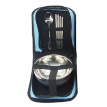 Camping Cooking Outdoor Travel Bag Tableware Stainless Blue