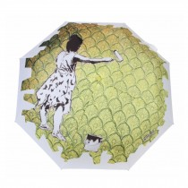 Fashionable Pop Art Style Folding Umbrella Rain or Shine Dual-Use, Green Girl