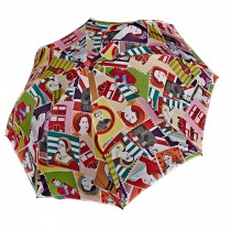 Retro Creative Printing Design Folding Sun/Rain Umbrella, Stamp Style