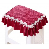 Pastoral Cloth Pad Stool Rectangular Chair Covers Slip Chair Cushion Red