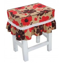 Cotton Canvas Square Stool Cover Makeup Stool Sets Bar Stool Sets Red