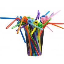 Set Of 100 Creative Art Straw Color Plastic Straws Tea Art Straw