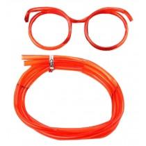Set Of 3 Cute Cartoon Crazy DIY Sraw Funny Glasses Straws Red