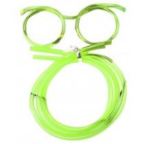 Set Of 3 Cute Cartoon Crazy DIY Sraw Funny Glasses Straws Green