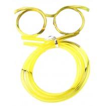 Set Of 3 Cute Cartoon Crazy DIY Sraw Funny Glasses Straws Yellow