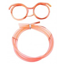 Set Of 3 Cute Cartoon Crazy DIY Sraw Funny Glasses Straws Orange