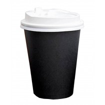 Set of 50 Disposable Coffee Cups Paper Cups With Lids Hot Drink Cups Black