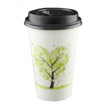 [Tree Green] Set of 50 Disposable Coffee Cups Paper Cups With Lids Hot Drink Cup