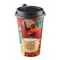 [Red] Set of 50 Disposable Coffee Cups Paper Cups With Lids Hot Drink Cup