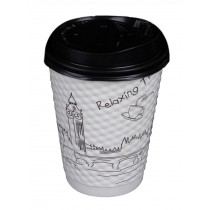 [Relaxing] Set of 50 Disposable Coffee Cups Paper Cups With Lids Hot Drink Cup