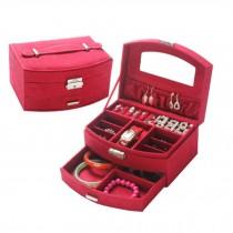 Sweet Elegant Jewelry Box Portable Ornaments Storage Case, Dark Red