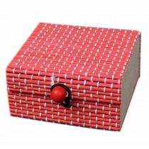 Set of 4 Vintage Novelty Decoration Box Jewelry Soapbox Storage Box Square Red