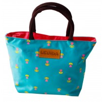 Tote Reusable Lunch Bag for Carrying Foods Lovely Zipper Lunch Bag, Blue-green